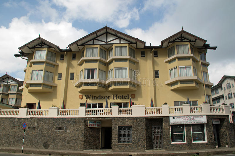 Windsor Hotel. The grand Windsor Hotel in Nuwara Eliya. The Hotel looks imposing at the top of the street looking towards the town below stock photo