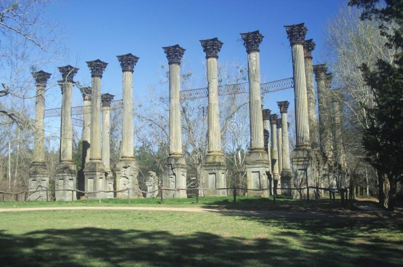 Windsor Ruins é as ruínas da mansão grega antebellum a maior do renascimento construída no estado de E.U. de Mississippi, Claibor imagem de stock royalty free