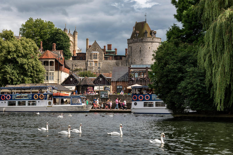 Windsor Town, England. Picturesque of Windsor castle across the river Thames royalty free stock photos