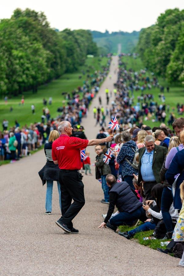 Windsor, UK â⠂¬â€œ Maj 18 2019: Gospodarstwo domowe Koszaruje kawaleria zaznacza ich odjazd od Comberme zdjęcia stock