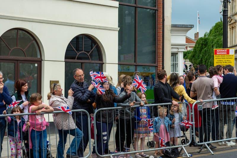 Windsor, UK - 18 Μαΐου 2019: Το οικιακό ιππικό χαρακτηρίζει την αναχώρησή τους από τις αποδοκιμασίες Comberme στοκ εικόνες