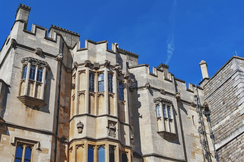Group of buildings at The Quadrangle of Windsor Castle, a royal residence at Windsor in county of Berkshire, England, UK. Windsor, UK - April 2018: Group of stock photo