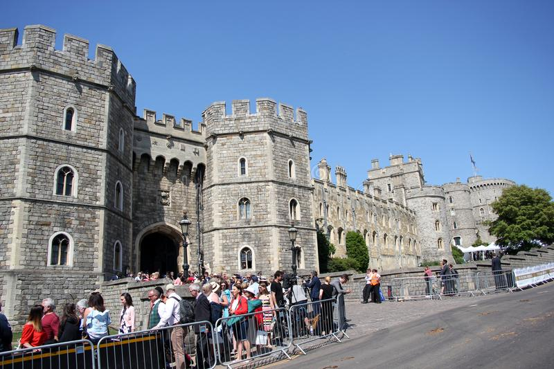 Windsor, Uk, 5/19/2018 : crowd scenes after wedding of Meghan Markle and Prince Harry. Wedding of Prince Harry and & Meghan markle, Windsor Castle, Windsor, Uk royalty free stock photography