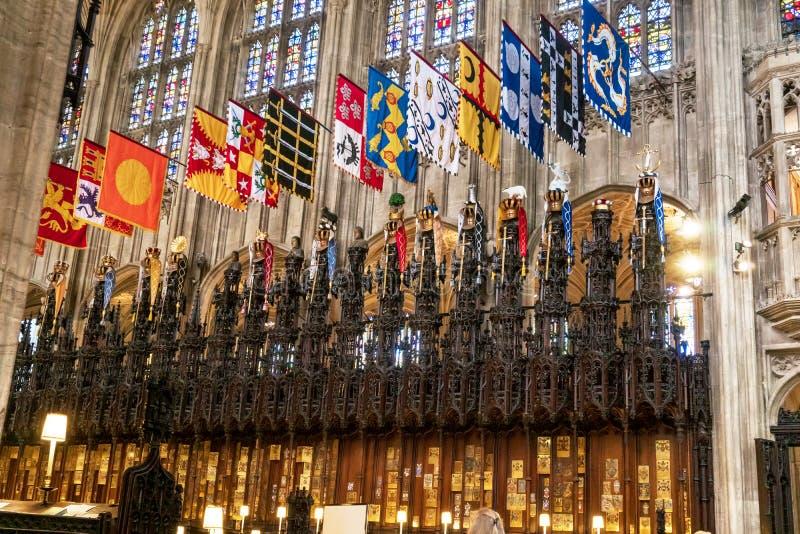 Windsor UK - Maj 13, 2019: Inre av medeltida Stets George kapell värden av prinsen William och Meghan Markle royaltyfri fotografi