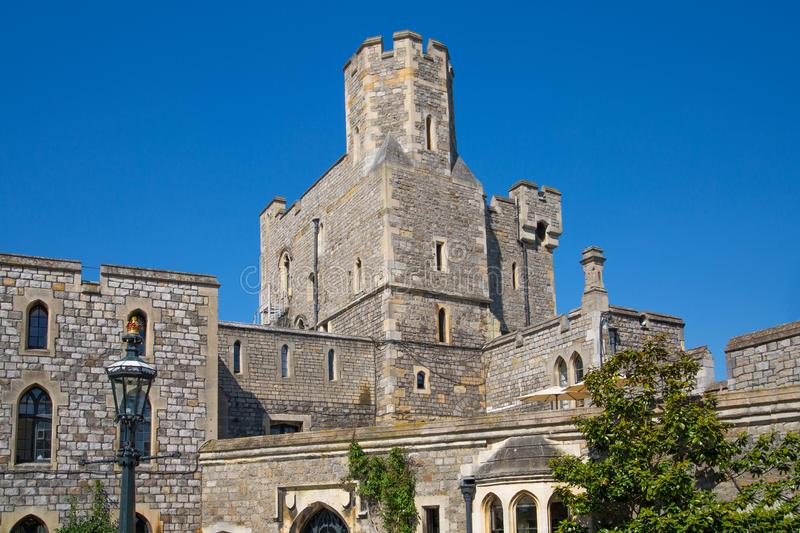 View at the medieval Windsor Castle, built 1066 by William the Conqueror. Official residence of Queen. Berkshire, England UK. Windsor, UK - May 5, 2018: View at royalty free stock photography
