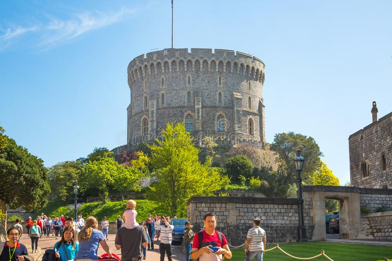 View at the medieval Windsor Castle, built 1066 by William the Conqueror. Official residence of Queen. Berkshire, England UK. Windsor, UK - May 5, 2018: View at royalty free stock images