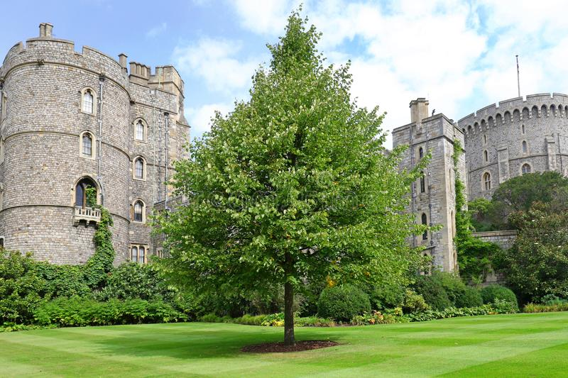 Windsor, United Kingdom - Aug 29, 2017: View of Medieval Windsor Castle Windsor Castle is a royal residence at Windsor, Eng. Windsor, United Kingdom - Aug 29 royalty free stock photography
