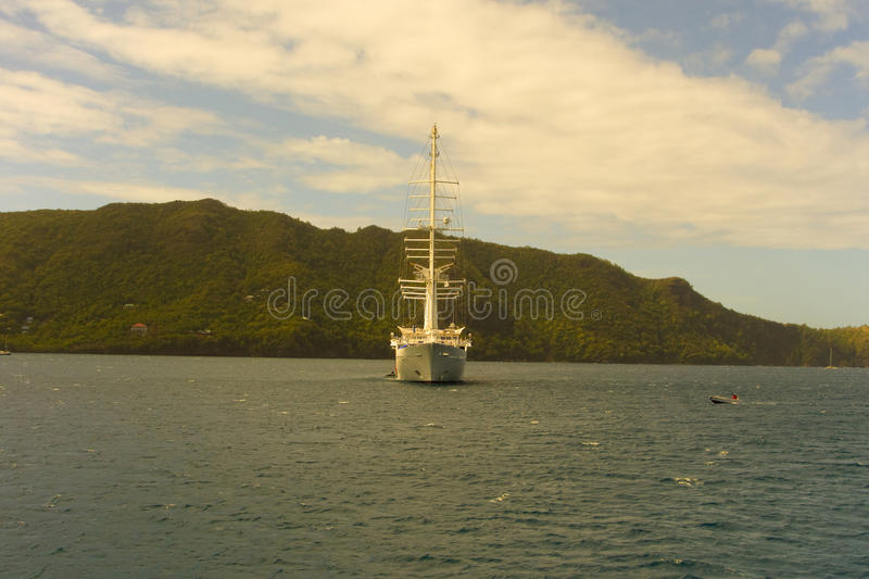 The windstar at anchor in admiralty bay royalty free stock photo