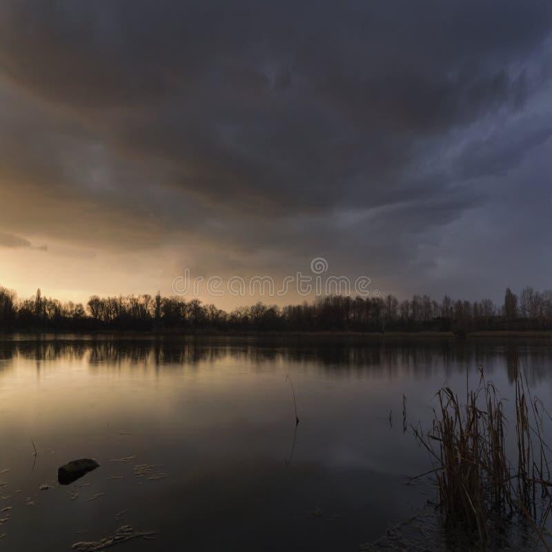 Windstorm windstorm of the lake. In Dnepropetrovsk. Ukraine stock images
