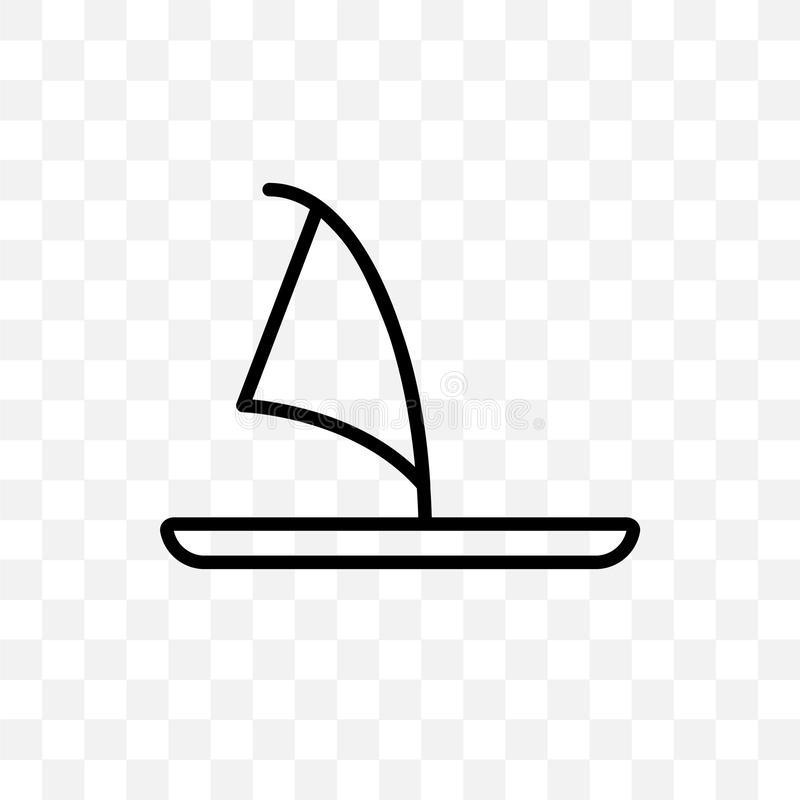 Windsurf Board vector linear icon isolated on transparent background, Windsurf Board transparency concept can be used for web and vector illustration