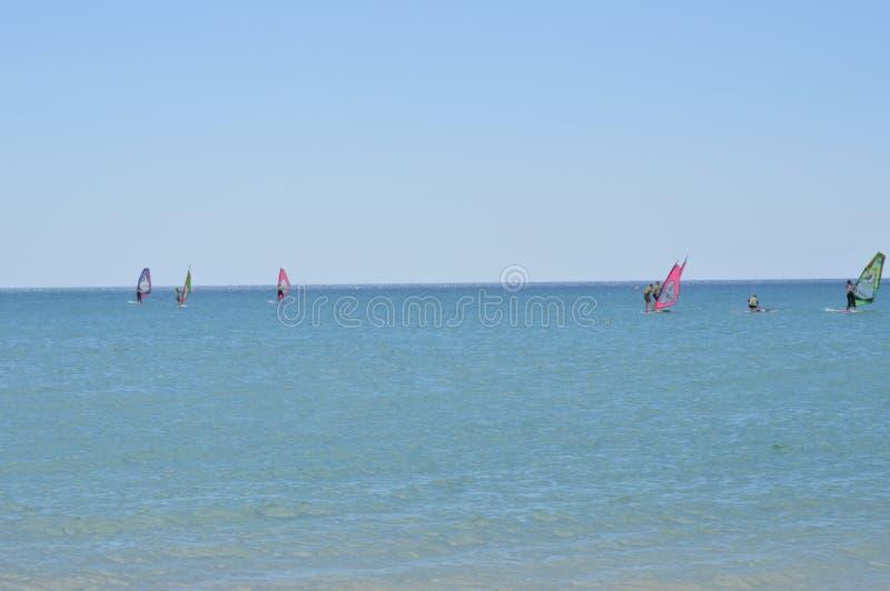 Windsurf d'esecuzione della gente in Costa Calma fotografia stock