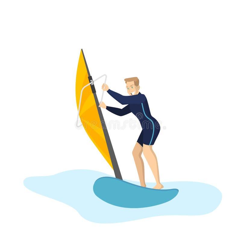 Windsurf dell'uomo Sport estremo attivo nel mare illustrazione vettoriale