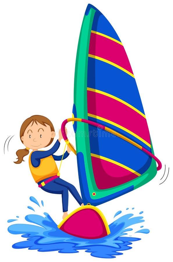 Windsurf della donna nell'oceano illustrazione vettoriale