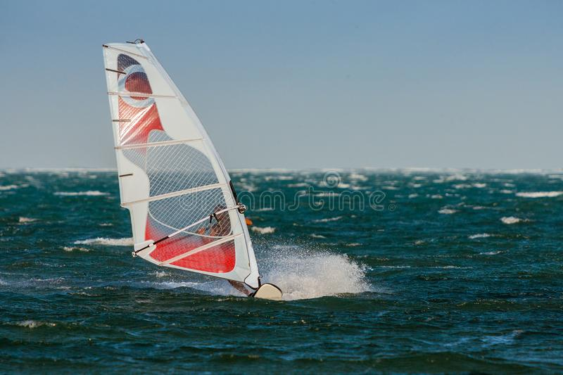 Windsurf in the lagoon. Woman windsurfing in the lagoon, acrobatic, action, active, aquatic, athletic, beach, beautiful, board, dynamic, exotic, extreme, female royalty free stock images