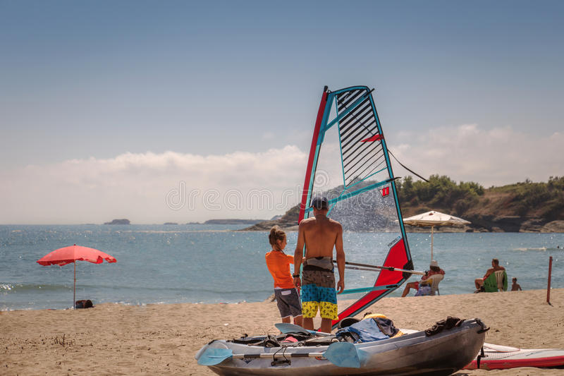 Windsurf Lektion lizenzfreies stockfoto