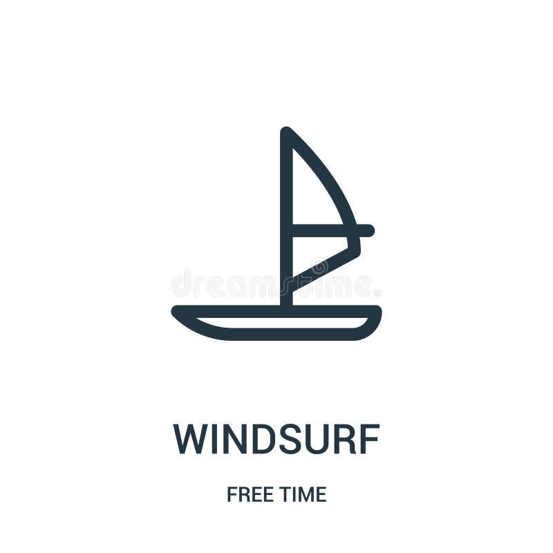 windsurf o vetor do ícone da coleção do tempo livre A linha fina windsurf ilustração do vetor do ícone do esboço Símbolo linear p ilustração stock