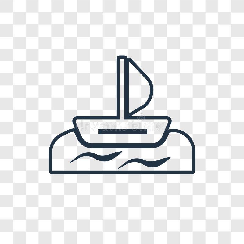 Windsurf pojęcie wektorowa liniowa ikona odizolowywająca na przejrzystym plecy royalty ilustracja