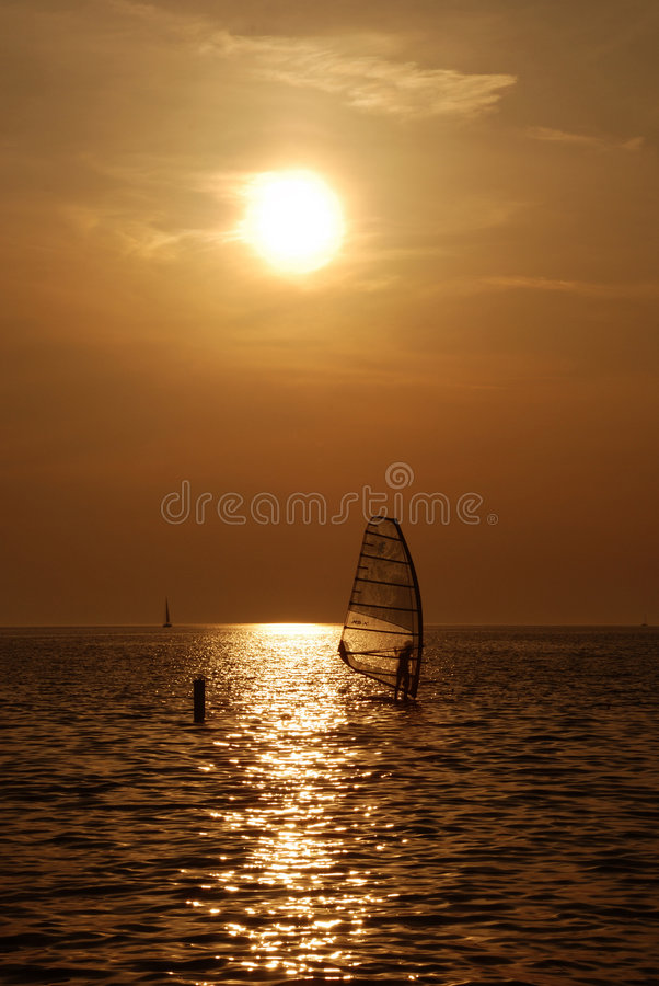 Windsurf sunset stock photo