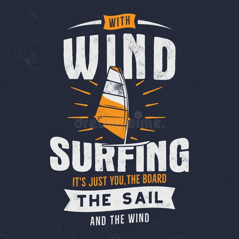 Windsurfe tirado mão do vintage, projeto gráfico kitesurfing do T Camisa do curso t do verão conceito do cartaz com retro ilustração royalty free