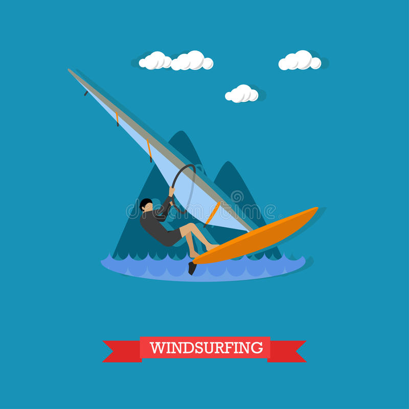 Windsurfer на доске с ветрилом, плоском дизайне иллюстрация вектора