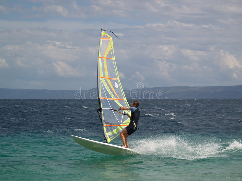 Windsurfer. In action in Adriatic sea royalty free stock images