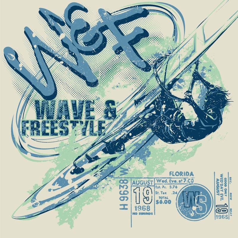 Windsurfer bij het windsurfing van raad met golf op grafische achtergrond, vectormalplaatje Beeldverhaal, vlakke stijl, silhouet, vector illustratie