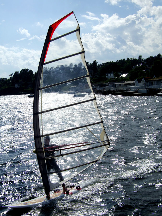 Windsurfer dans Oslofjord photographie stock
