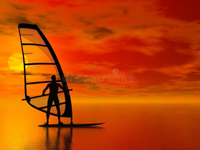 windsurfer de silhouette illustration stock