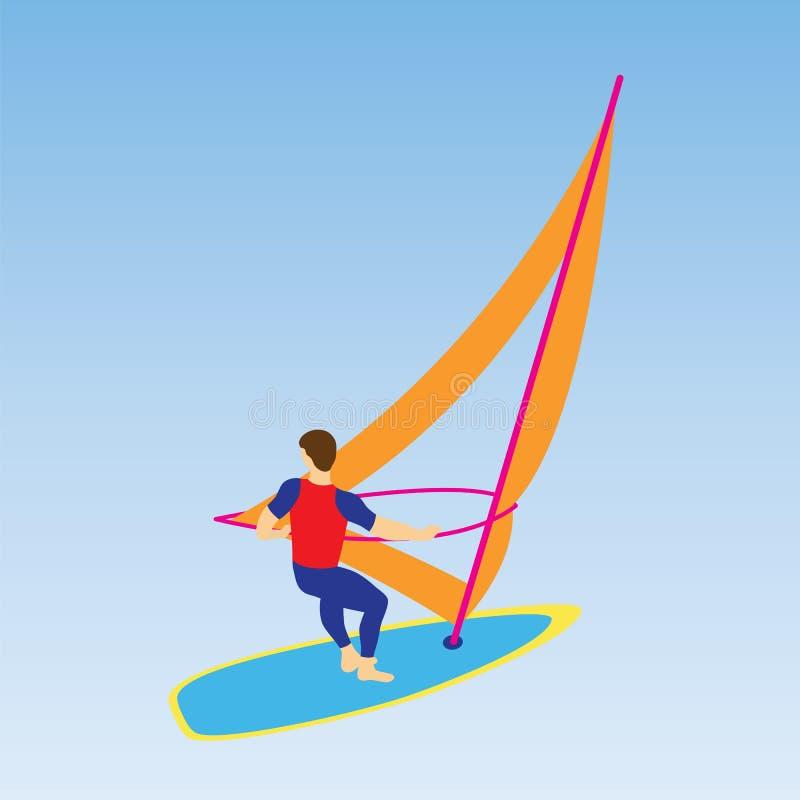 Windsurfer en un tablero para el windsurf libre illustration