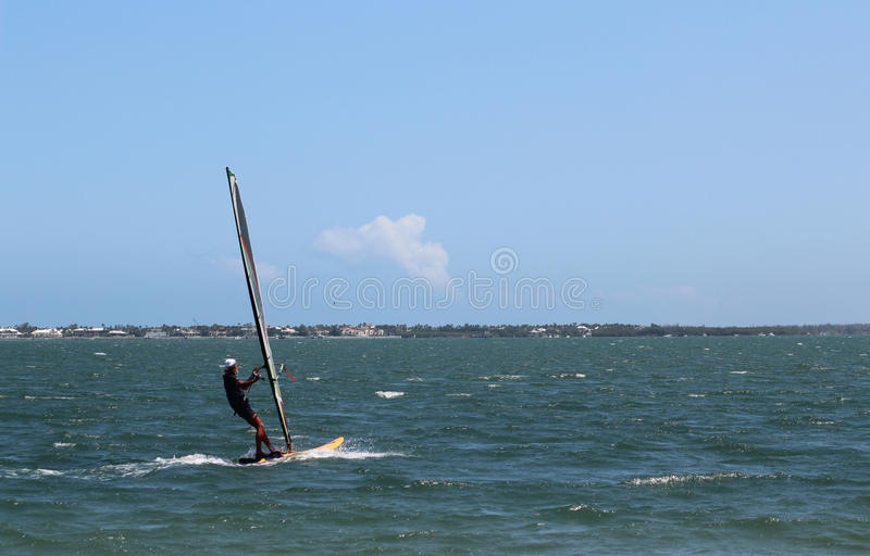 WINDSURFER ON INDIAN RIVER LAGOON IN STUART,FLORIDA royalty free stock images