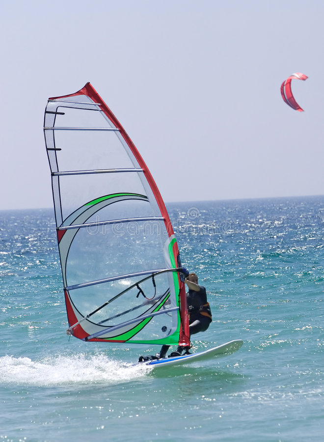 Free Windsurfer On Sunny Tarifa Beach In Southern Spain Stock Images - 378954