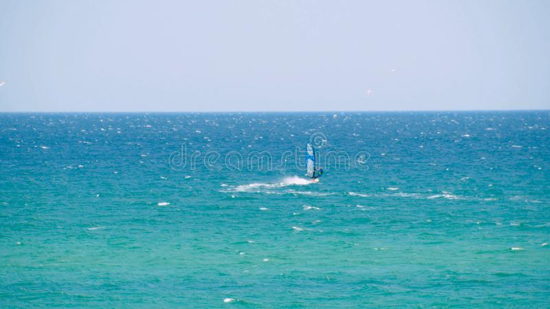 Windsurfer riding the waves in the sea. Shot. Windsurfer in the sea, man on windsurf conquering the waves, enjoying. Extreme sport, active lifestyle, happy stock images