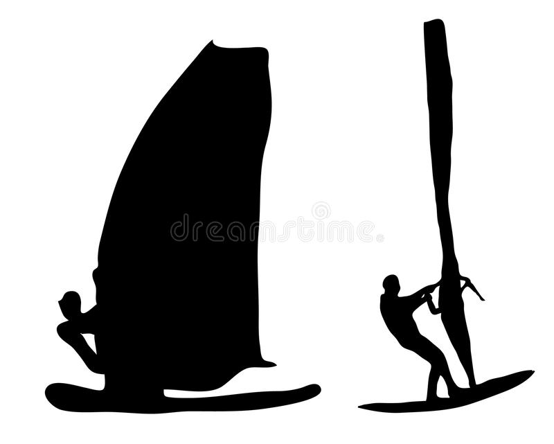 Windsurfer silhouette royalty free stock image