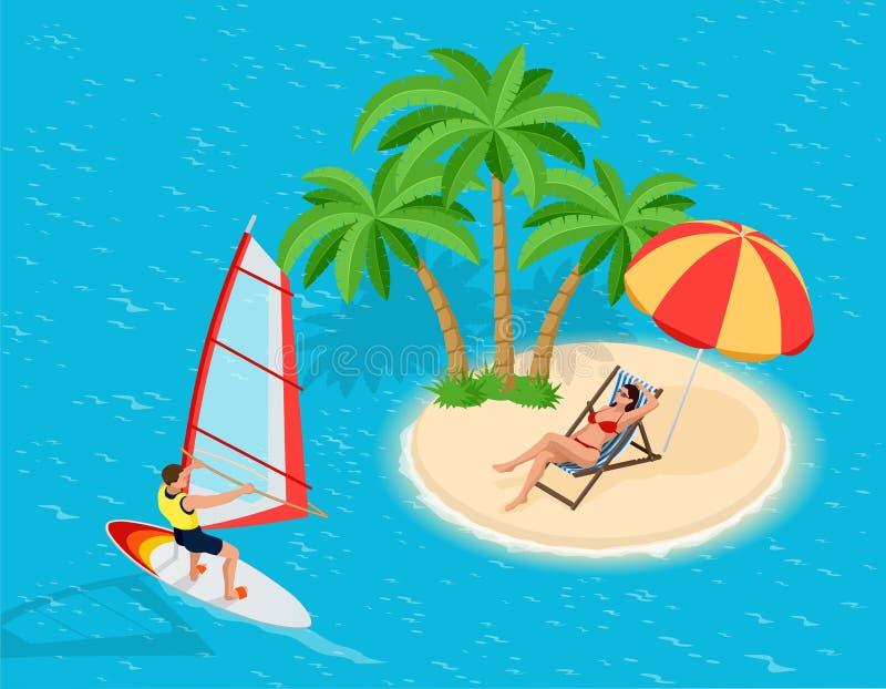 Windsurfer su un bordo per fare windsurf Concetto creativo di vacanza Sport di acqua Windsurf, divertimento nell'oceano, estremo illustrazione di stock