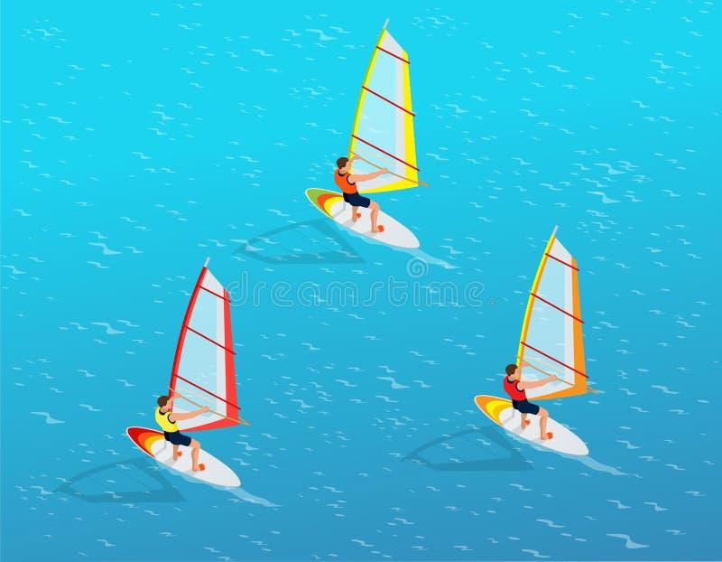 Windsurfer su un bordo per fare windsurf Concetto creativo di vacanza Sport di acqua Windsurf, divertimento nell'oceano, estremo royalty illustrazione gratis