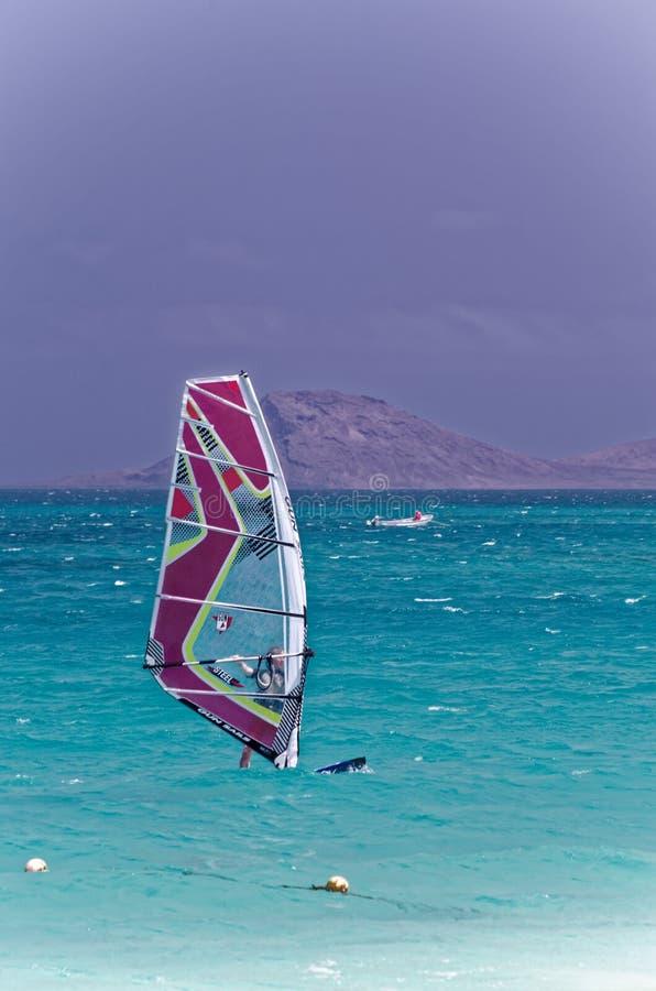 Windsurfermens aan boord met rood gekleurd zeil op oceaan op zonnige dag op blauwe hemelachtergrond Recreatieve watersporten tijd royalty-vrije stock fotografie