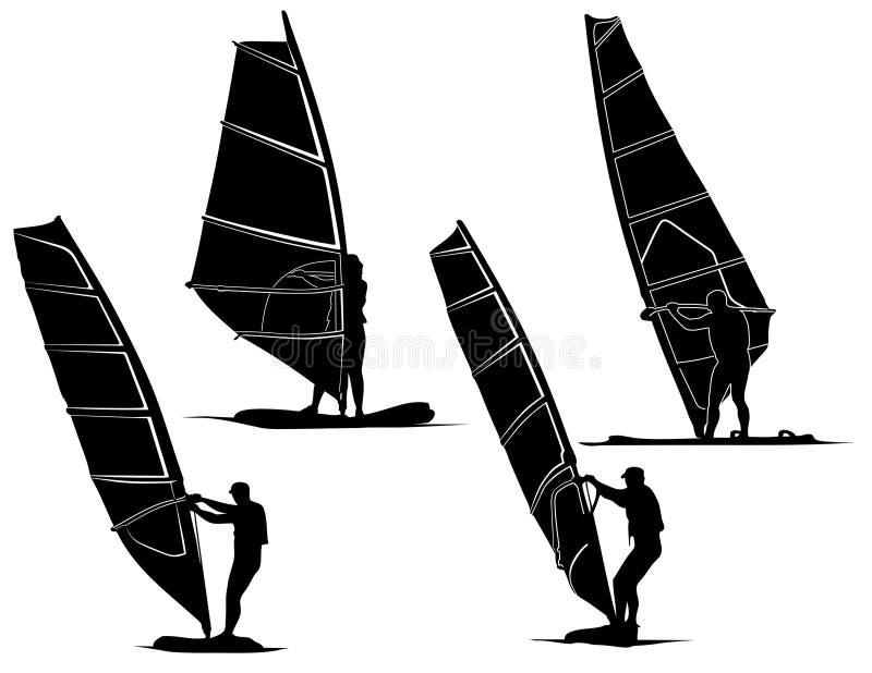 Windsurfers vector illustratie