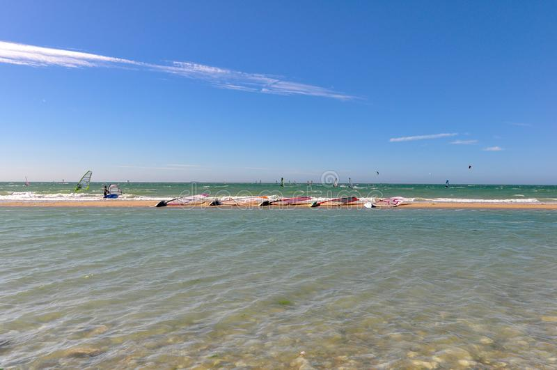 Windsurfers in action. On a french beach, in France stock image