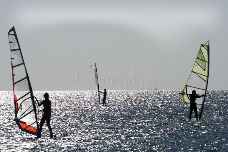 windsurfers de mer Égée image libre de droits