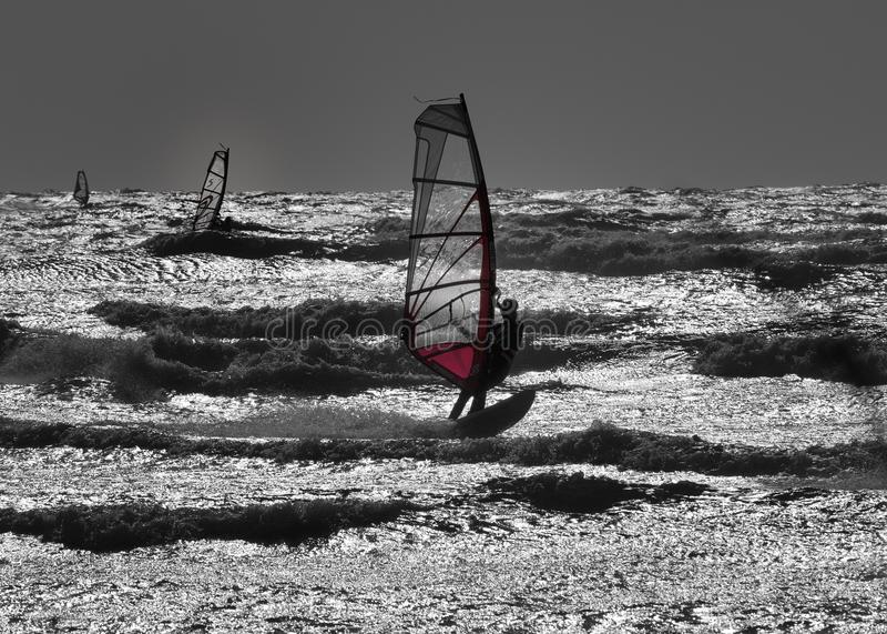 Windsurfers nell'azione fotografia stock