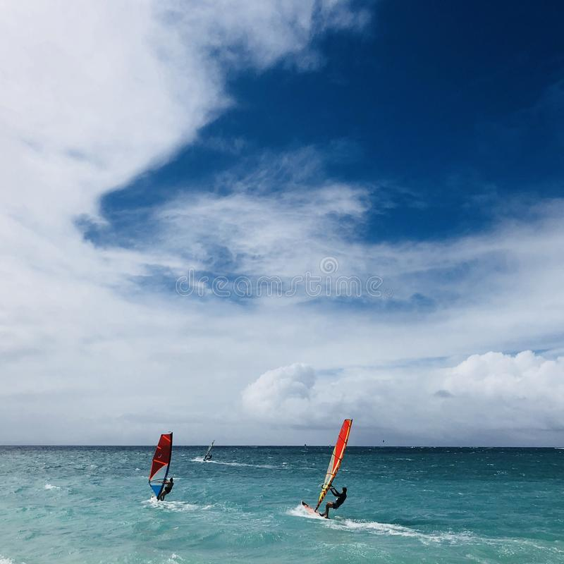 Windsurfers at sea in Kahana in Maui. A group of windsurfers on the waves in Kahana in Maui, Hawaii stock photos
