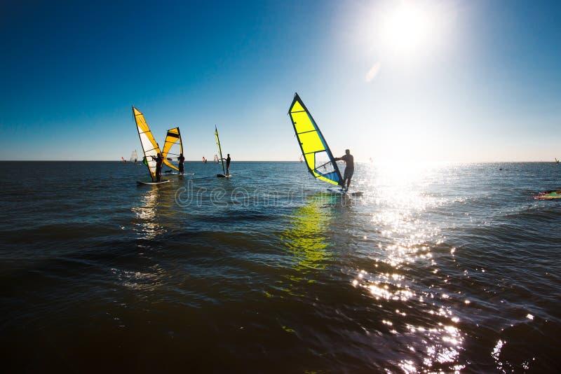 Windsurfers silhouette против предпосылки захода солнца, активного образа жизни стоковые фотографии rf