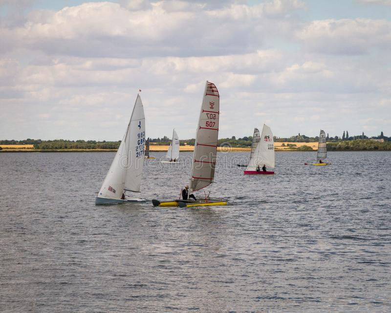 Windsurfers. At St Lawrence Bay royalty free stock images