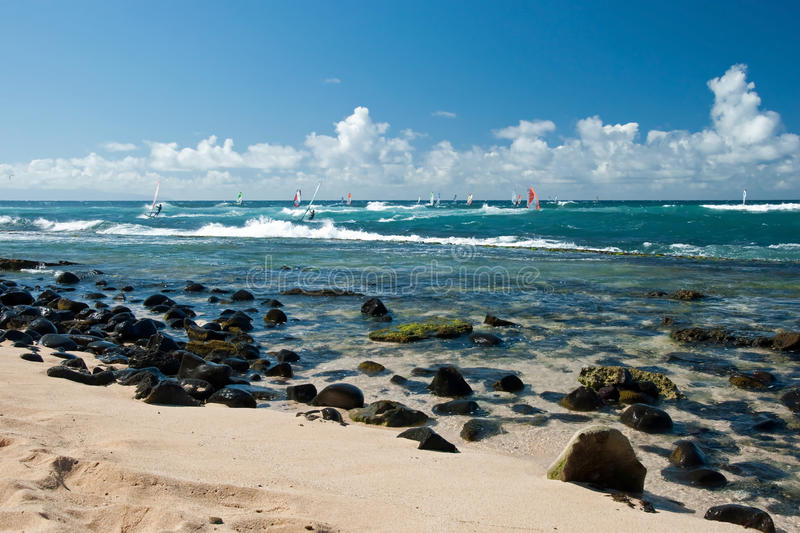 Windsurfers in windy weather on Maui Island. View of the windsurfers in windy weather on Maui Island royalty free stock images