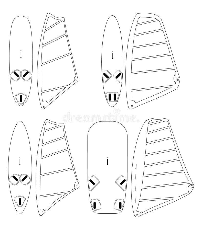 Windsurfing żagle i royalty ilustracja