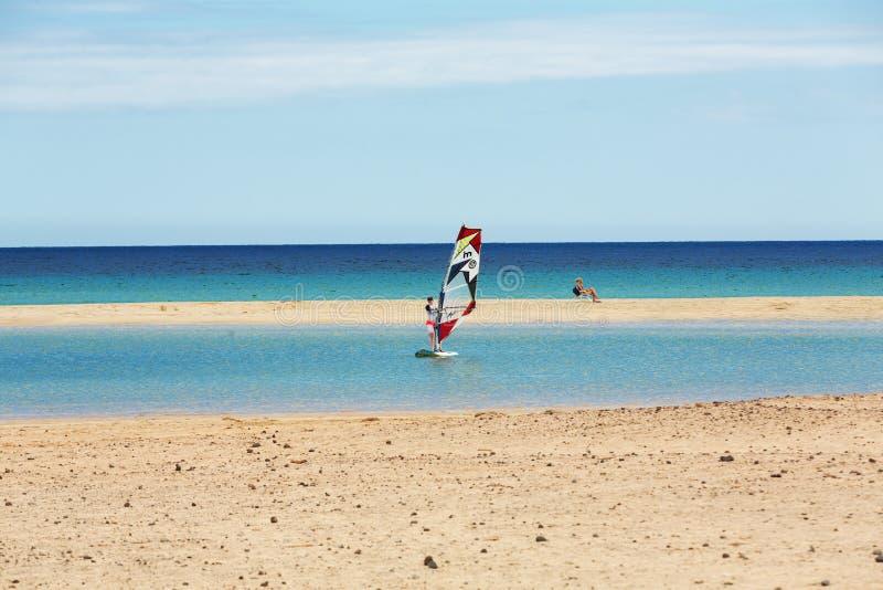 Windsurfing on the beach of Costa Calma .Fuerteventura,. Canary Island . Spain royalty free stock photos