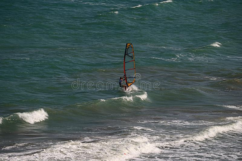 Windsurfing on the Black Sea coast. stock images