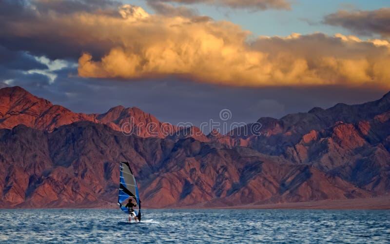 Windsurfing, Eilat city, Israel stock images