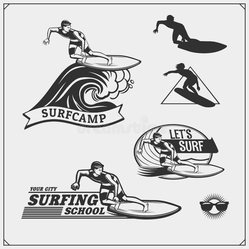 Windsurfing etykietka i emblemat Set różni surfboards również zwrócić corel ilustracji wektora Surfować emblematy, ikony i etykie royalty ilustracja