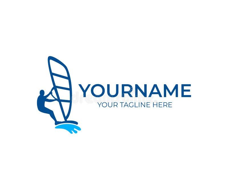 Windsurfing i windsurfer na fala, loga szablon Ekstremum i wody plaży sporty, wektorowy projekt royalty ilustracja